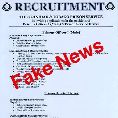 T&T Prison Service Recruitment