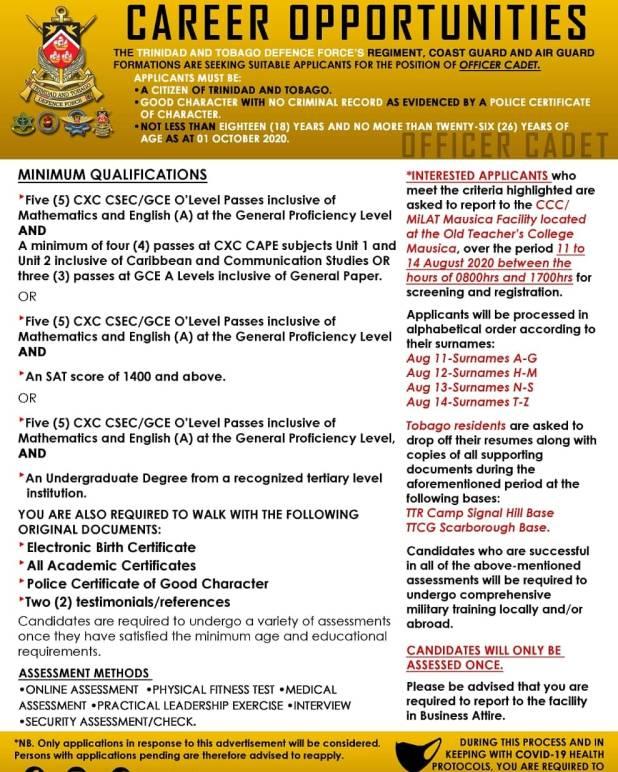 TTDF Recruitment August 2020