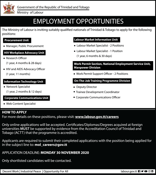 November 2020 Vacancies
