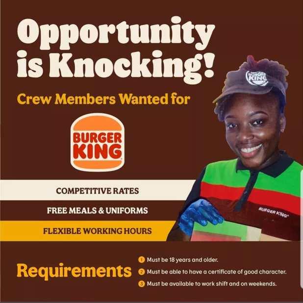 Burger King Employment Opportunities April 2021