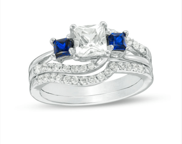 Princess-Cut Lab-Created Blue and White Sapphire with 3/8 CT.
