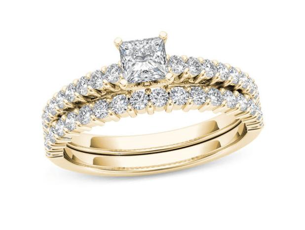 1 CT. T.W. Princess-Cut Diamond Bridal Set in 14K Gold