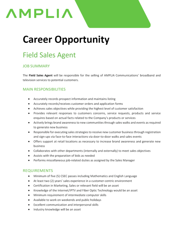 Amplia Career Opportunities April 2021
