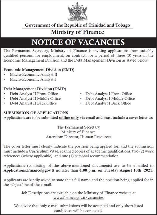 Government Job Vacancies July 2021