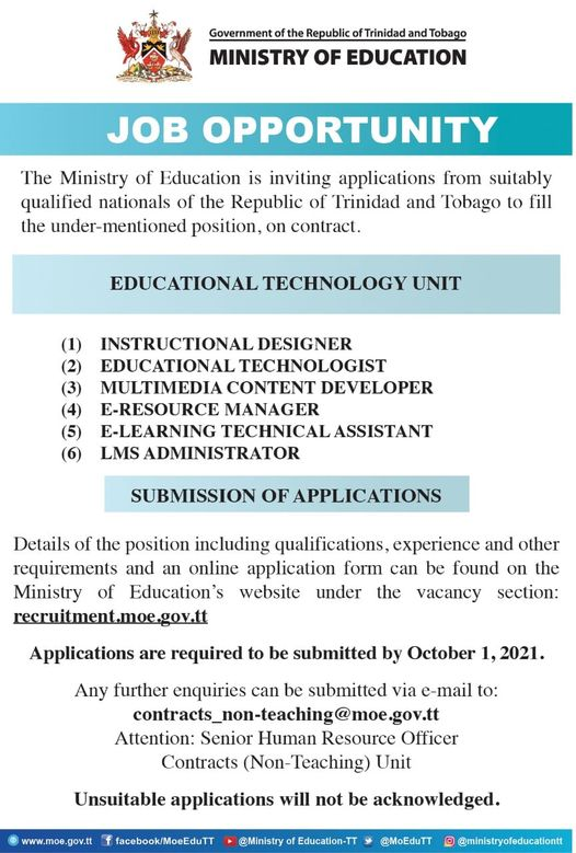 Min of Education Vacancies September 2021