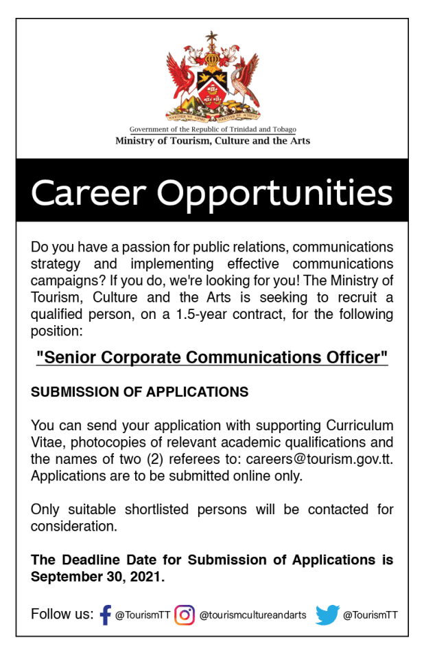 Ministry of Tourism Vacancy September 2021