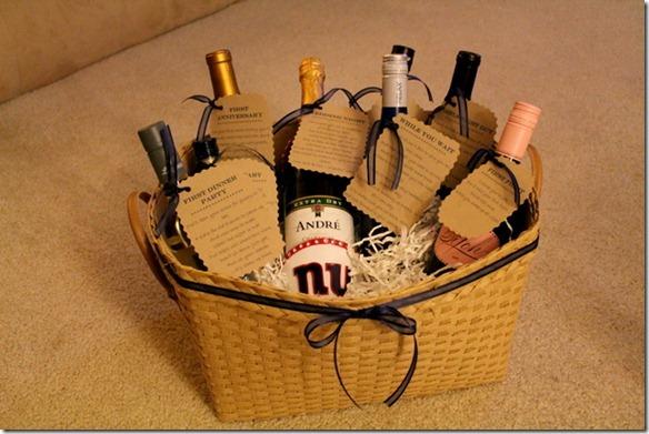 Bridal Shower Wine Basket Gift Idea With Poems