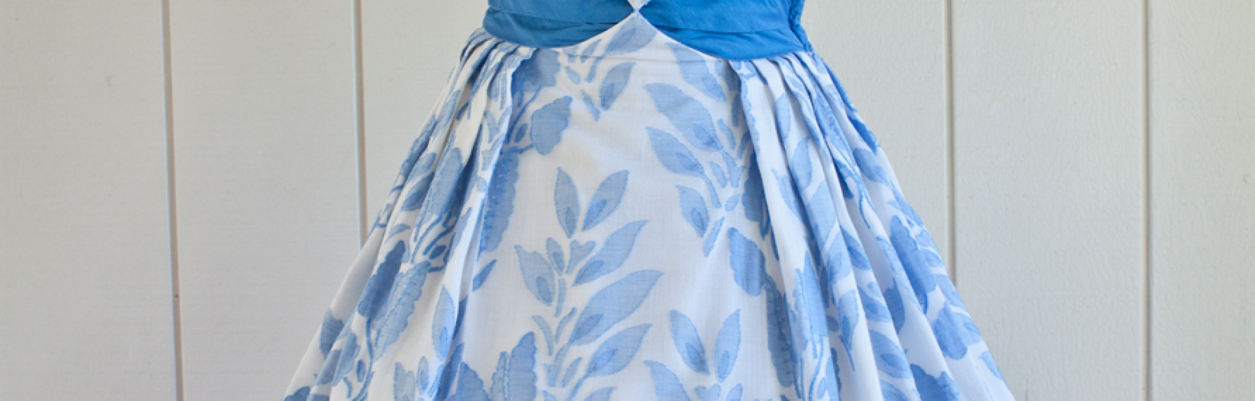 50s Blue White Dress with Blue Middle 1