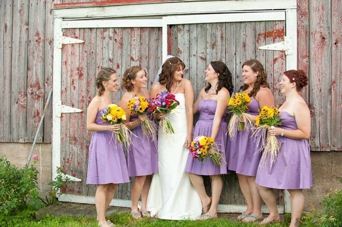 Purple bridesmaid dresses purple and yellow wedding