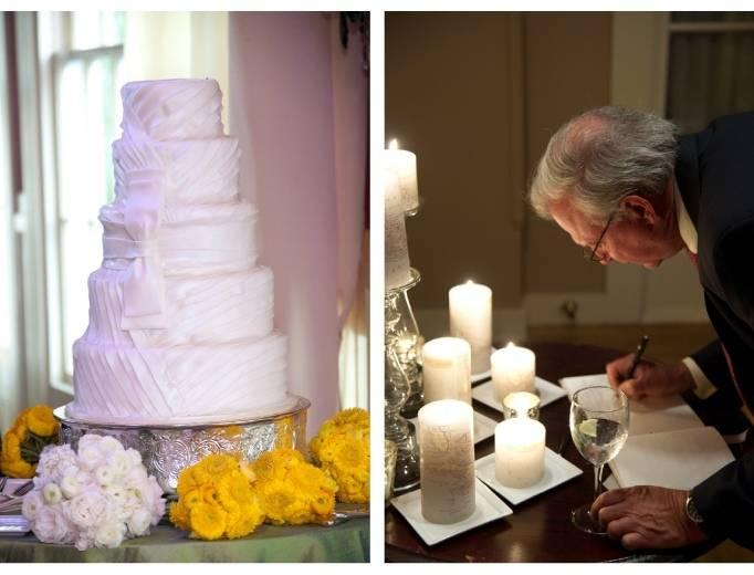 Matching wedding cake and dress