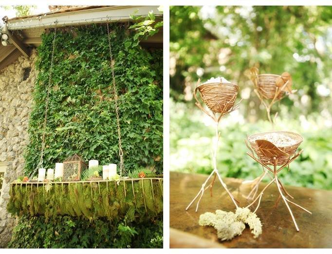 moss wedding centerpiece