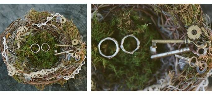 mossy ring pillow with steampunk keys