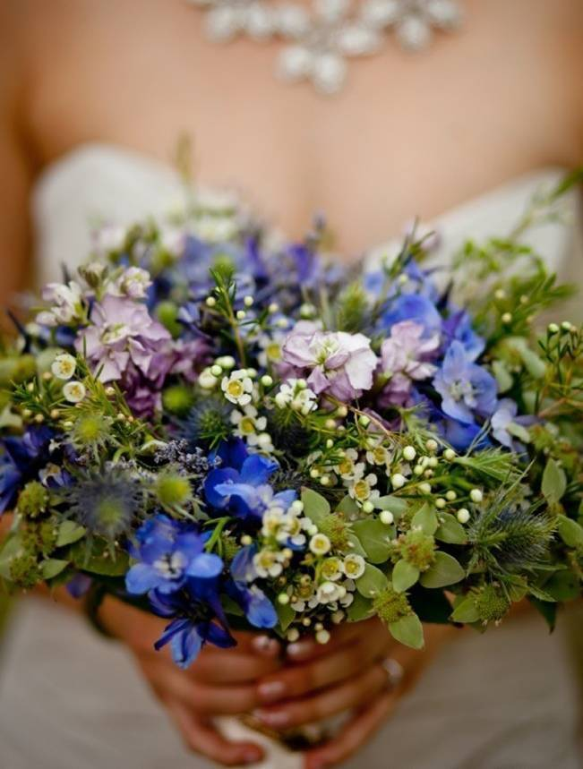 blue wildflower wedding bouquet