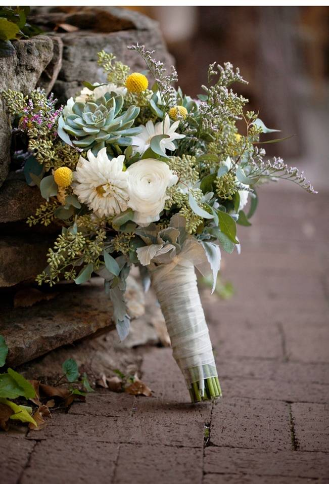 green + white bridal bouquet sage succulents billy balls