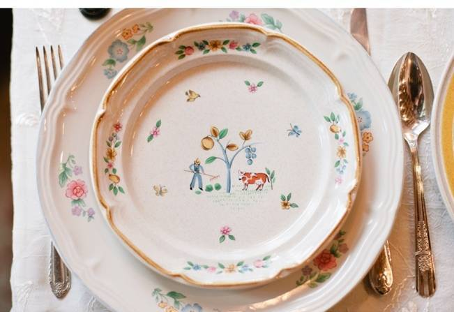 vintage country chic plates