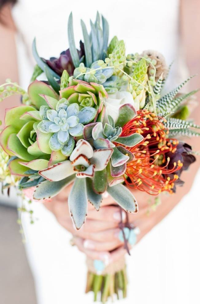 bright succulent wedding bouquet