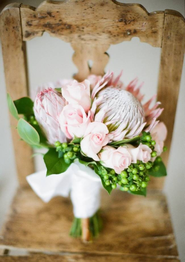 pink protea and rose bouquet