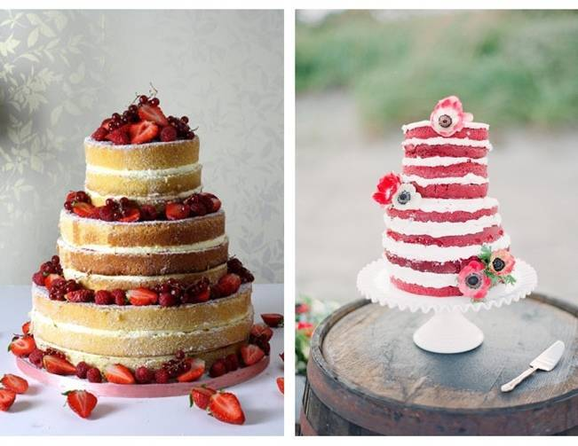 red velvet unfrosted cake berries