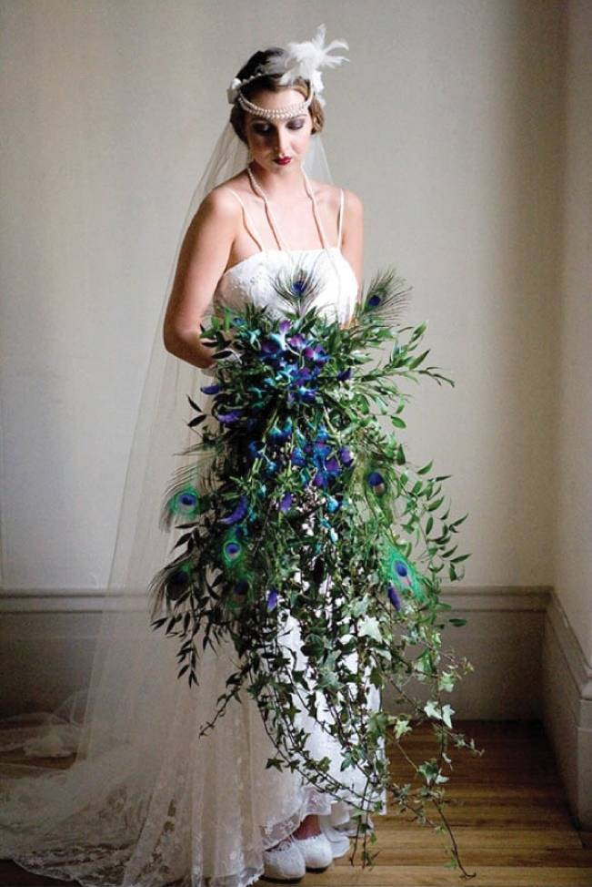 peacock feather bouquet, cascade