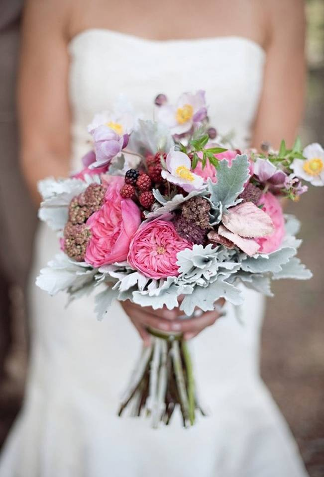 wild raspberry wedding bouquet