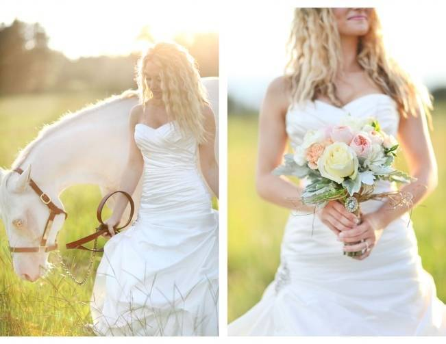 bride and horse in field