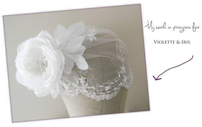 Violette & Iris bridal cap in progress