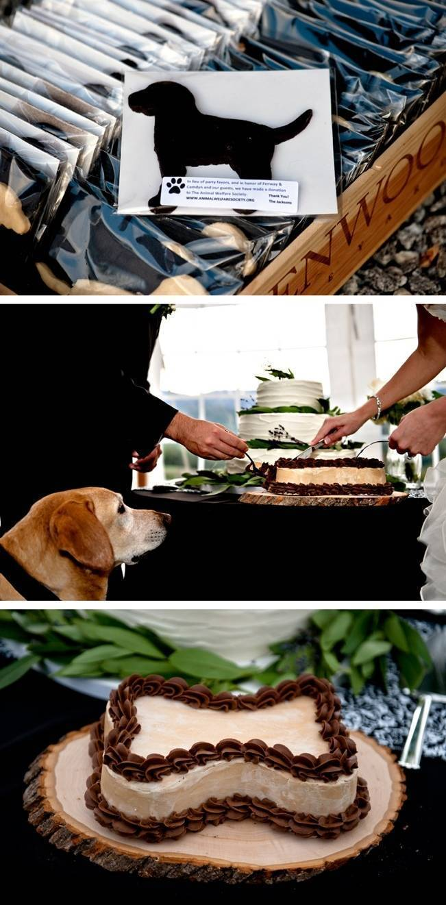 dog bone shaped cake, wedding with dogs