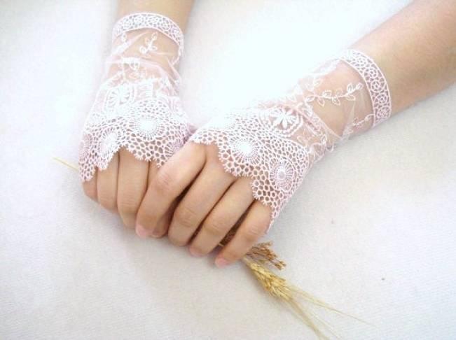crochet fingerless bridal gloves