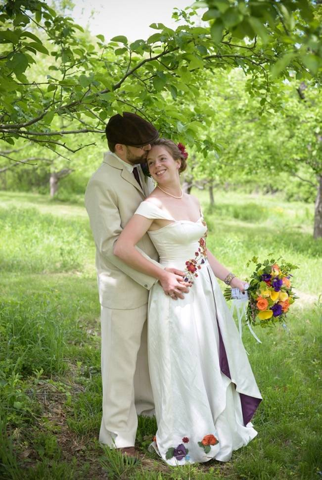 Tara Lynn Bridal dress and groom suit