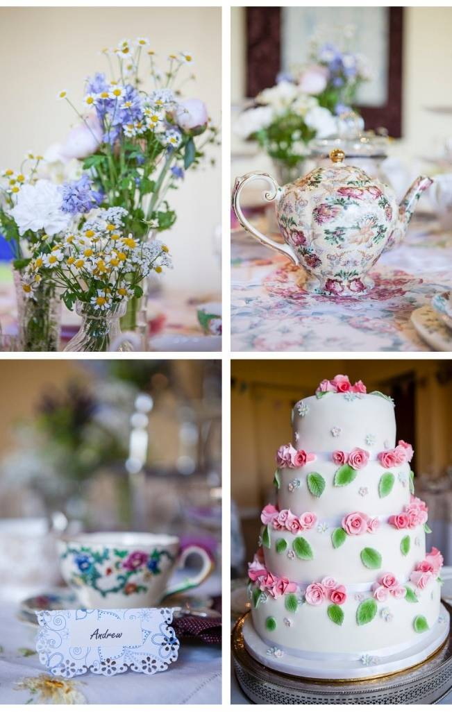 vintage china and teapot, pink rose wedding cake