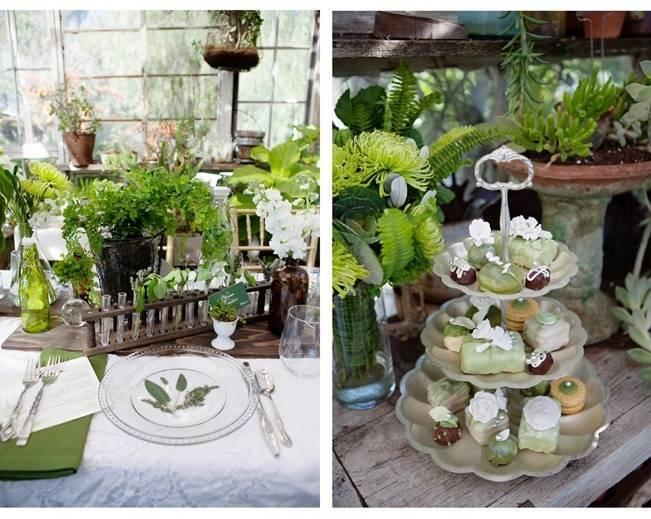 green botanical naturalist wedding