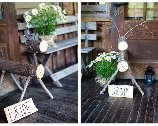 rustic bride and groom signs