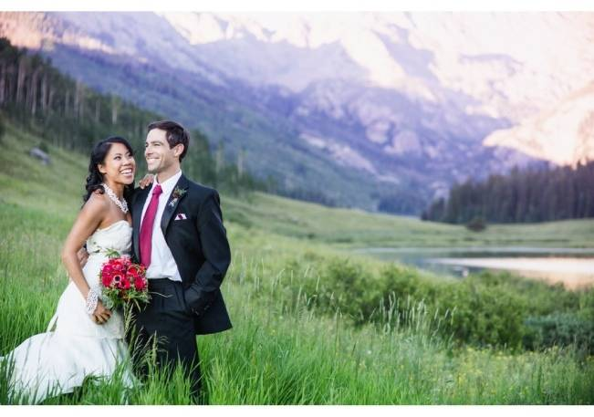 green and red mountain wedding