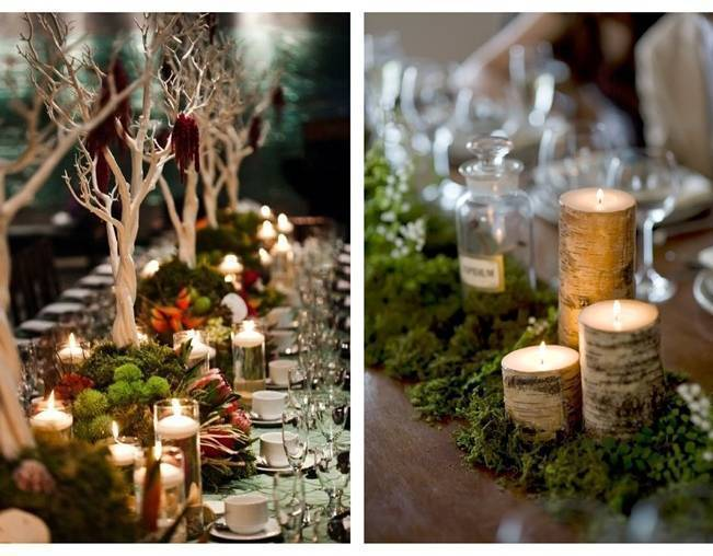 Mossy woodland centerpieces
