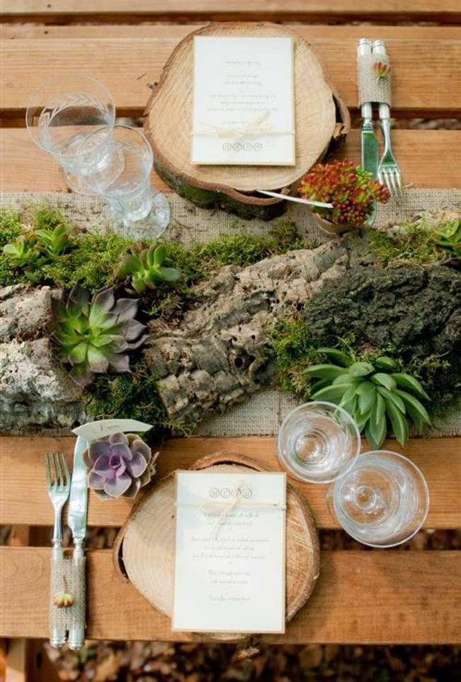 tree branch and log centerpiece