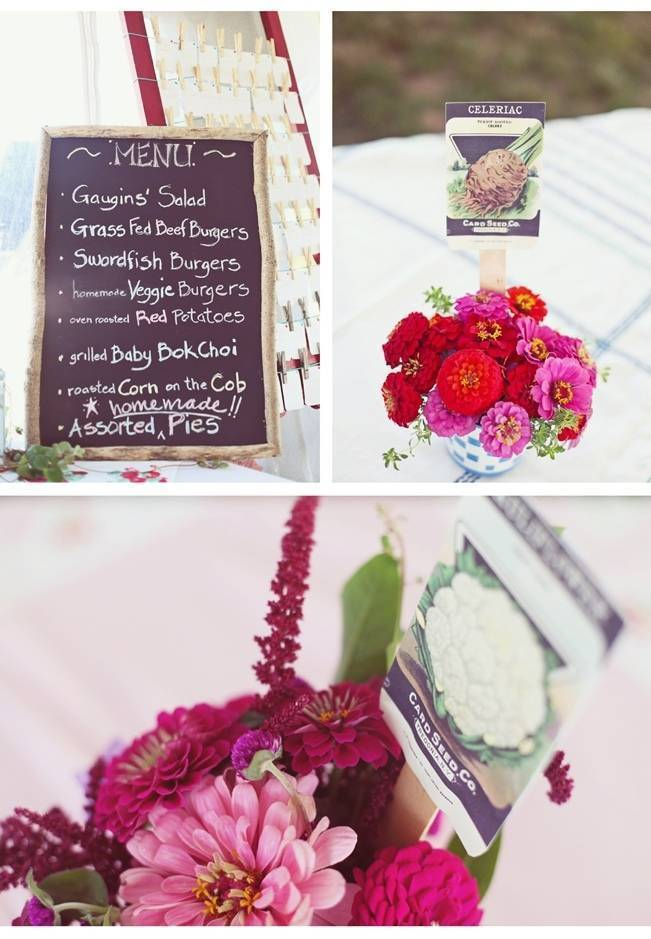 red and pink vintage garden centerpieces
