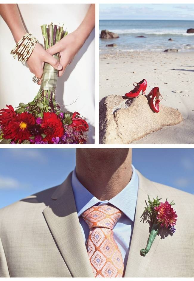 red gerbera bouquet red wedding shoes