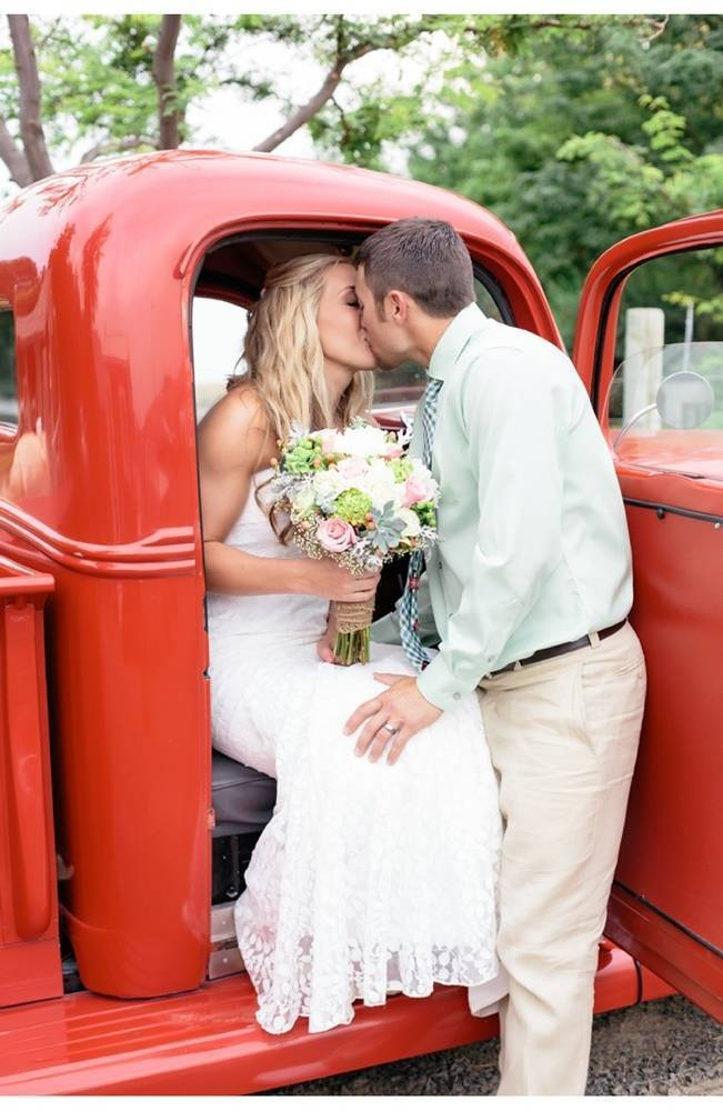 vintage red truck for wedding