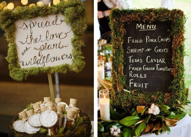 Moss Wedding Decor Ideas - signs and frames