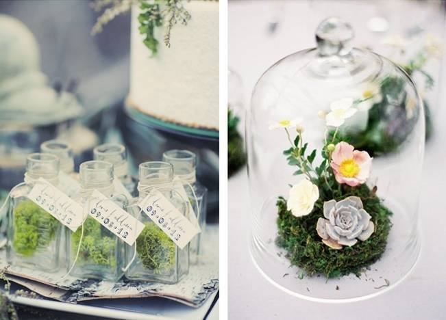 Moss favor jars and terrarium centerpiece