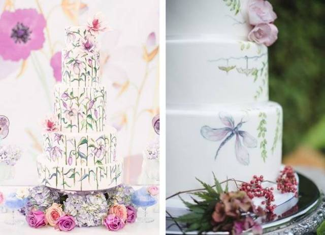 watercolor cakes, floral and dragonfly