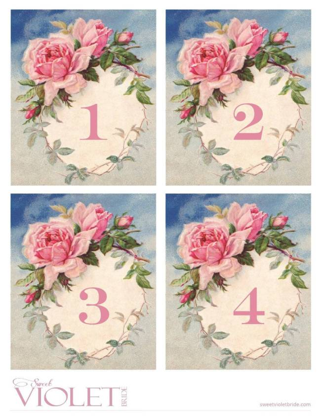 Free Printables - Vintage Watercolor Rose Table Numbers - 1-4