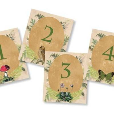 Woodland Table Numbers: Free Wedding Printable