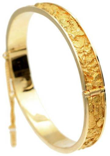 REAL Gold Nugget Bangle Bracelet