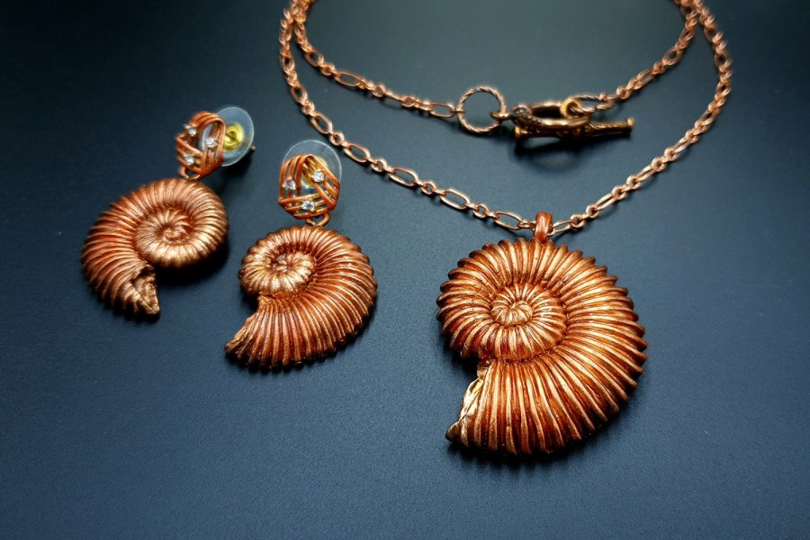 Ammonites in Copper Jewelry Set 06