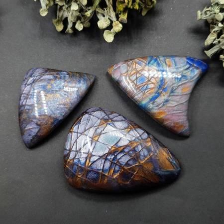 3 cabochons Faux Labradorite Stone