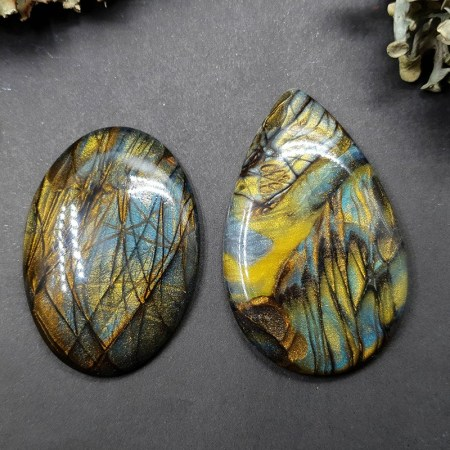 2 cabochons faux labradorite stone from polymer clay #2