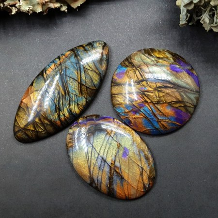 Faux Labradorite Stone – 3 cabochons from polymer clay