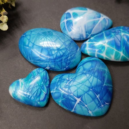 5 cabochons Faux Larimar Stone from Polymer Clay (#3)
