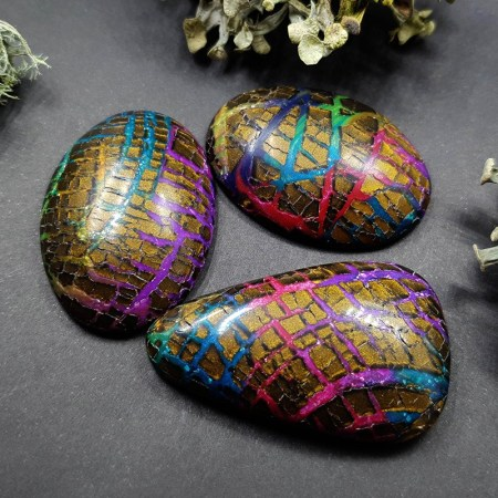Faux Opalized Wood Stone – 3 cabochons from Polymer Clay